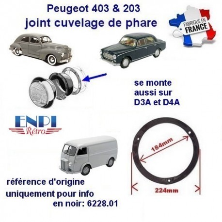 joint cuvelage Peugeot 203, 403, D3A, D4A