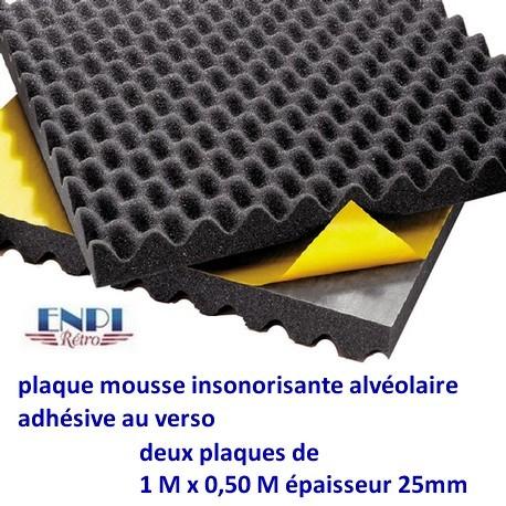 Plaque en mousse insonorisante adhésive (1m x 0.50m)x2 Le jeu