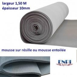 Mousse sur résille épaisseur 10 mm Largeur 1.50 m