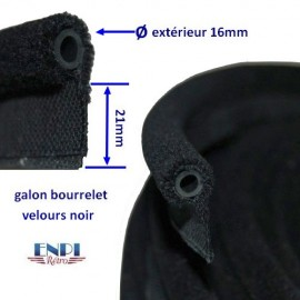 Galon bourrelet  velours Noir