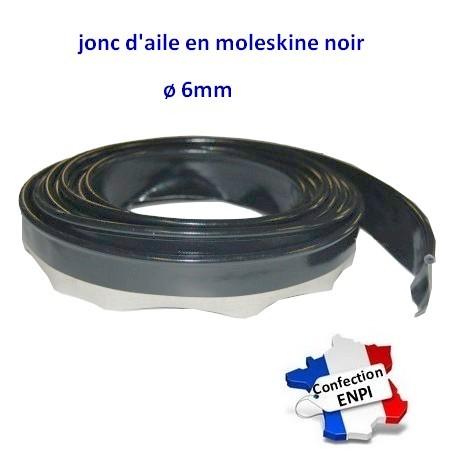 Jonc d'aile en moleskine noir diamètre 6mm